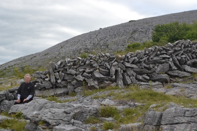 rj and stone wall on burren